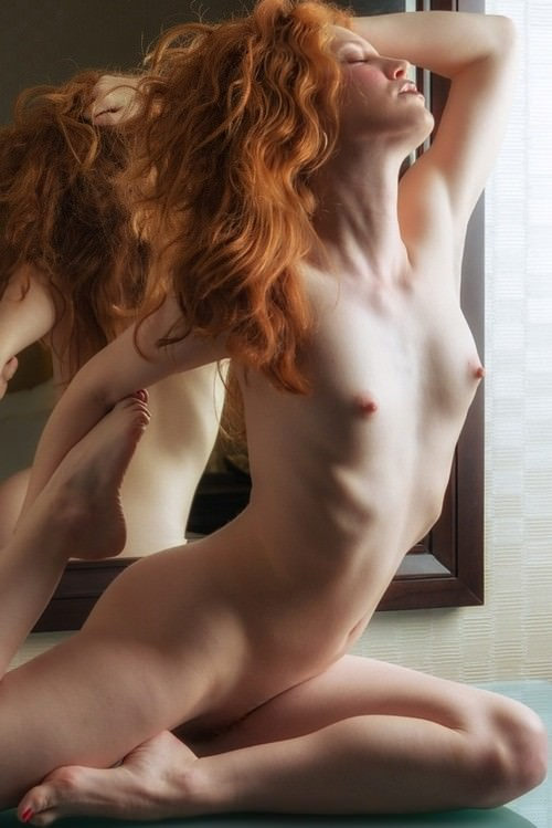 Redhead flame fucking and sucking wall dildo 9